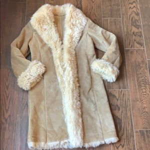 WILSON'S LEATHER Knee Length Suede/Faux Fur Coat